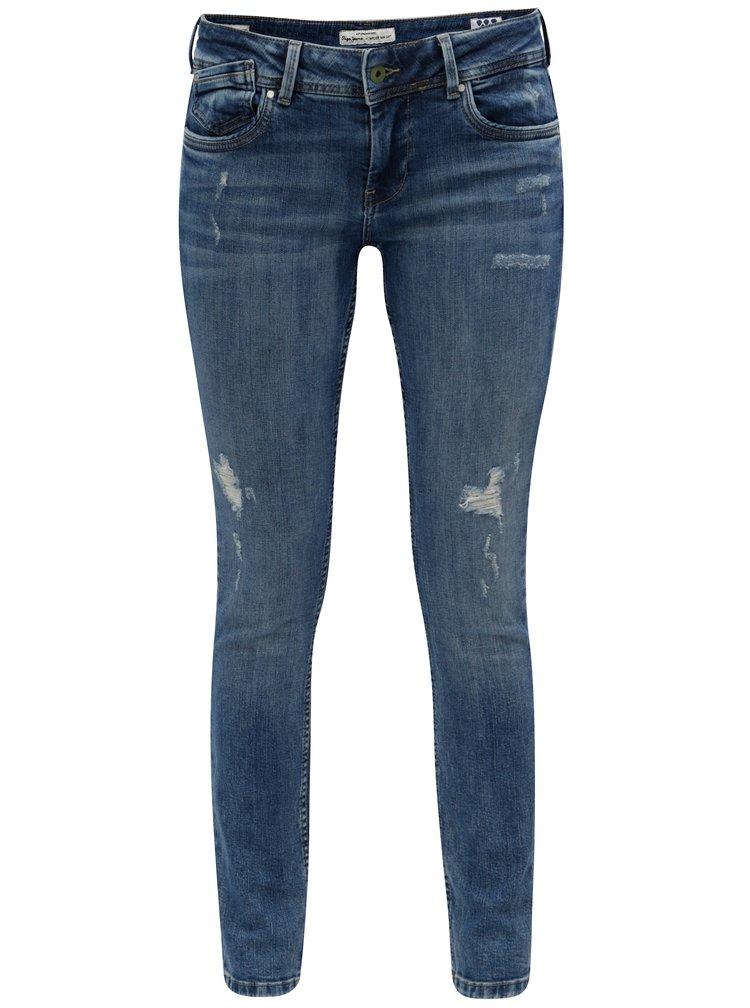 Modré dámské slim fit džíny s nízkým pasem Pepe Jeans Vera