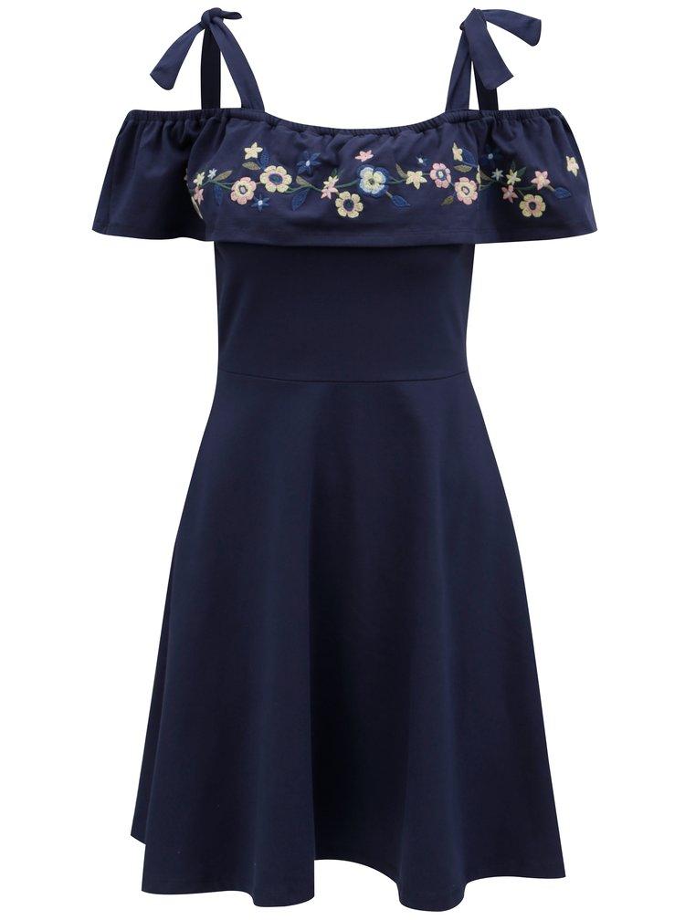 Tmavě modré šaty s květovanou výšivkou a odhalenými rameny Dorothy Perkins