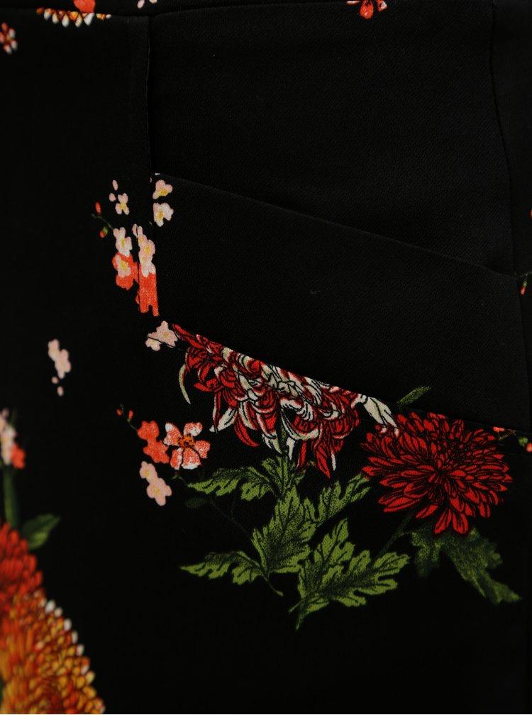 Fusta neagra cu model floral Dorothy Perkins