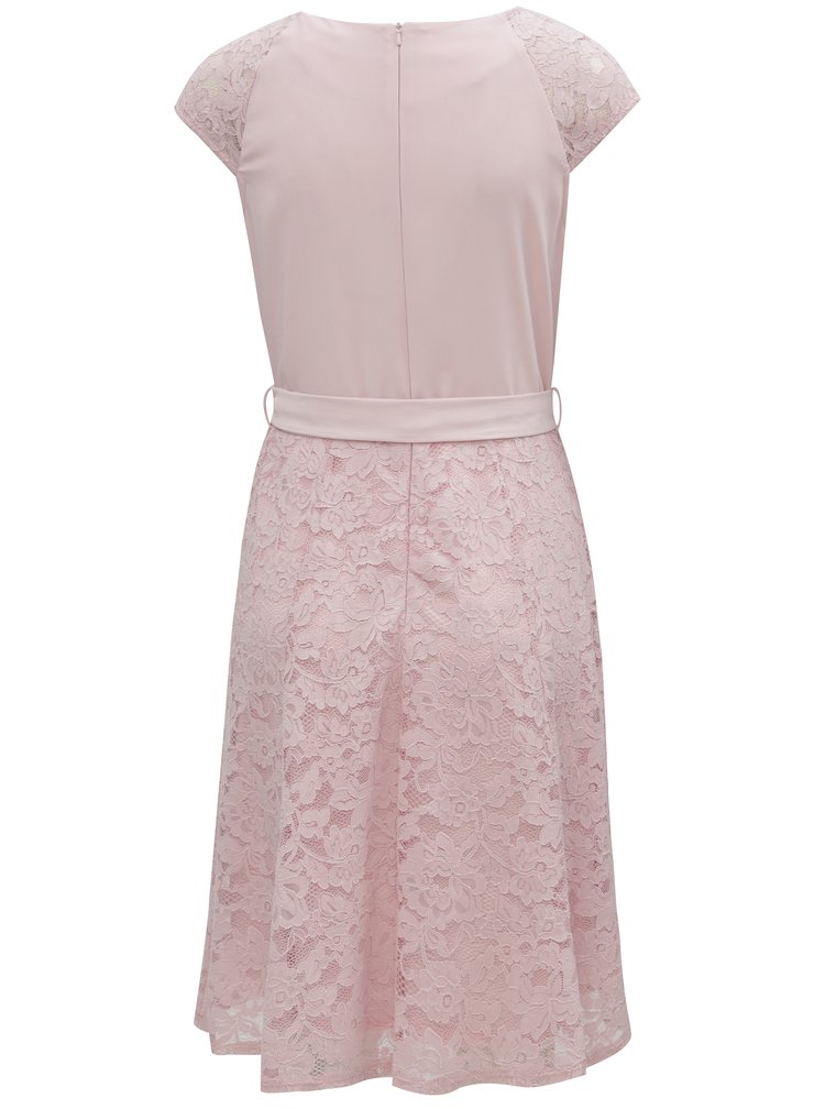 Růžové krajkové šaty se zavazováním Billie & Blossom
