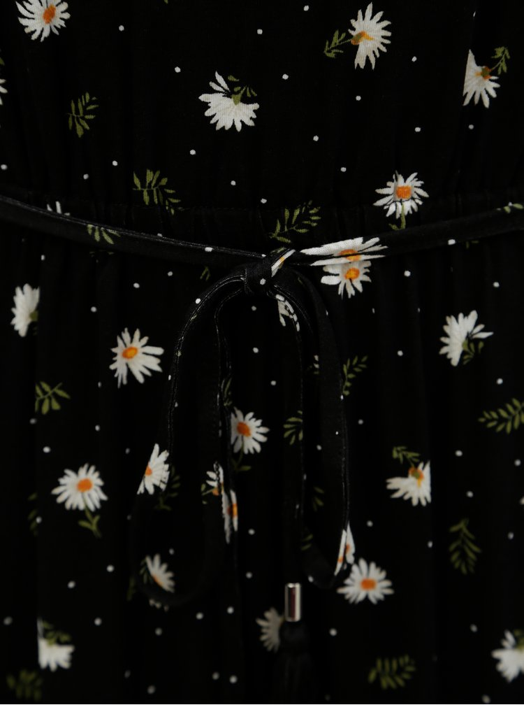 Černé květované maxišaty s páskem Dorothy Perkins Tall