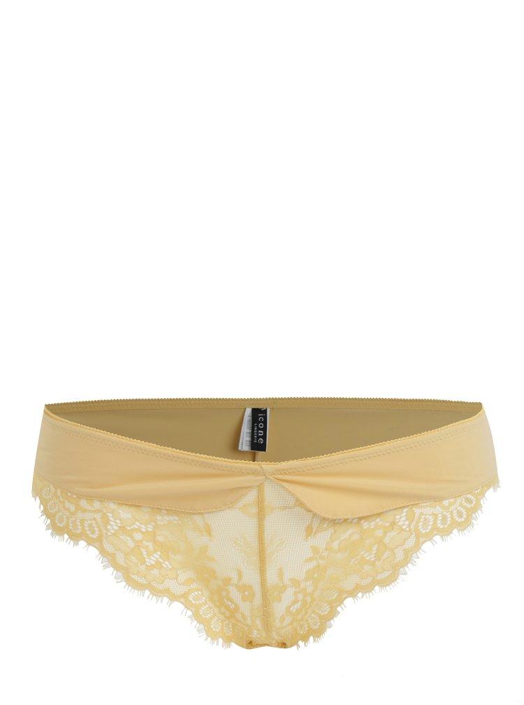 Žluté kalhotky s krajkou ICÔNE Ambre