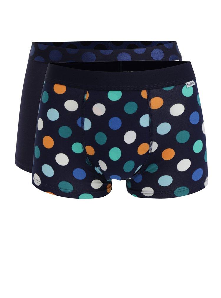 Súprava dvoch modrých boxeriek s bodkami Happy Socks Big Dot