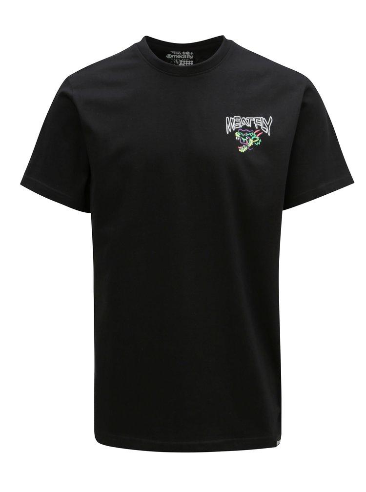 Čierne pánske tričko s potlačou na chrbte MEATFLY Dragon