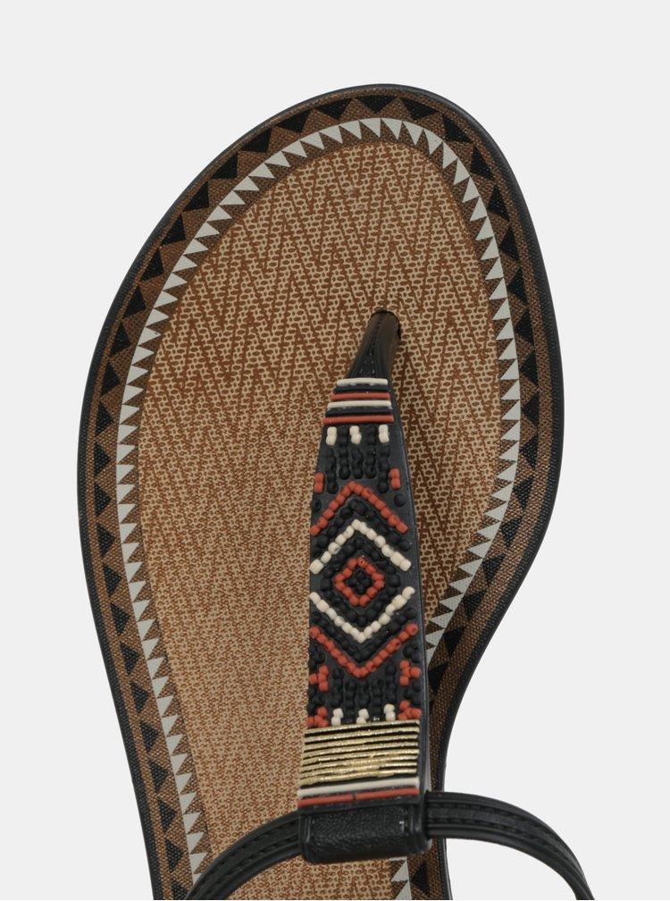 Hnědo-černé sandály s aztéckým vzorem Grendha Acai