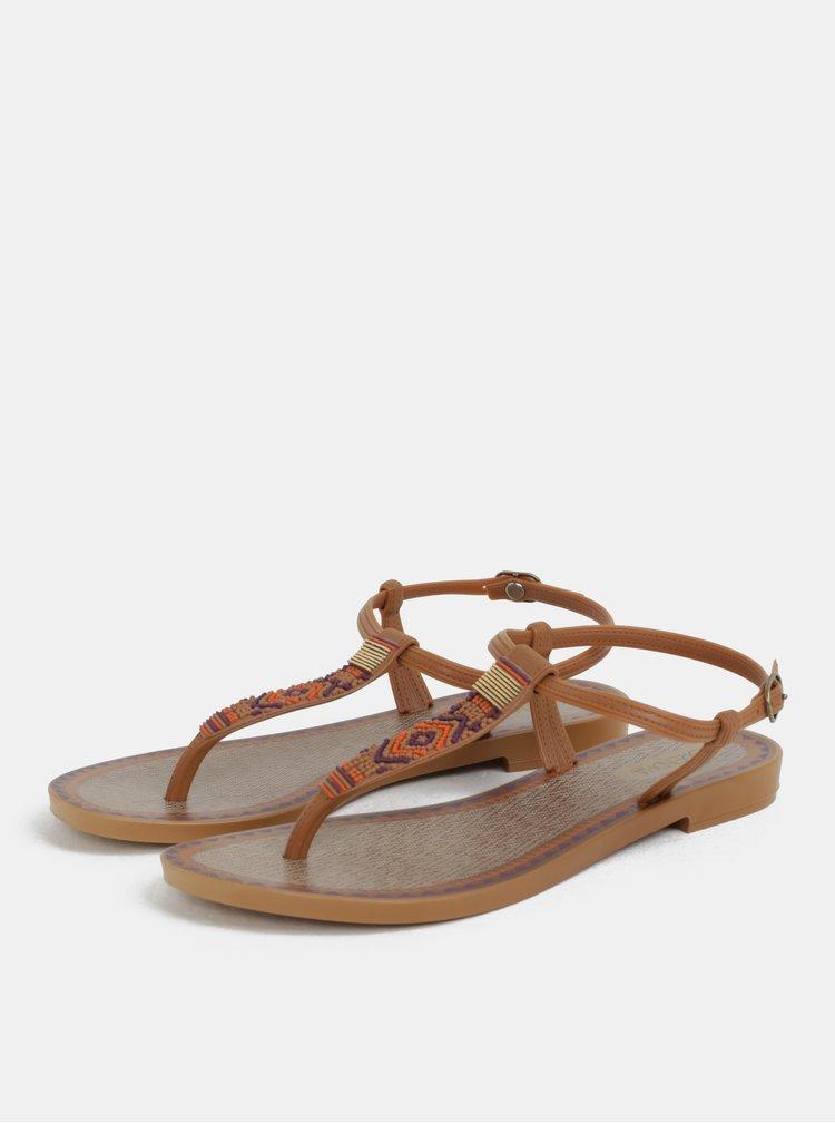 Hnědé sandály s aztéckým vzorem Grendha Acai