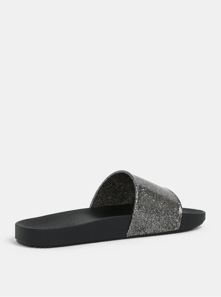 Stříbrno-černé pantofle se třpytivým efektem Zaxy Snap Glitter Slide