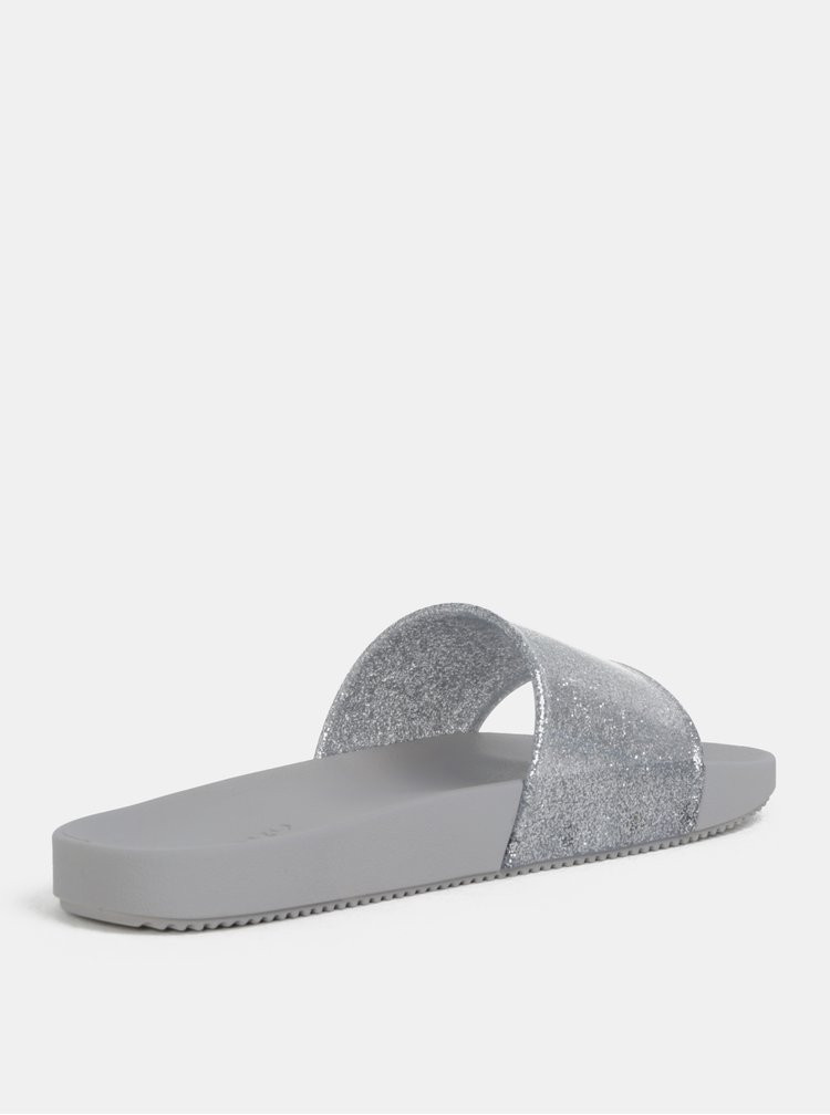Strieborno–sivé šľapky s trblietavým efektom Zaxy Snap Glitter Slide