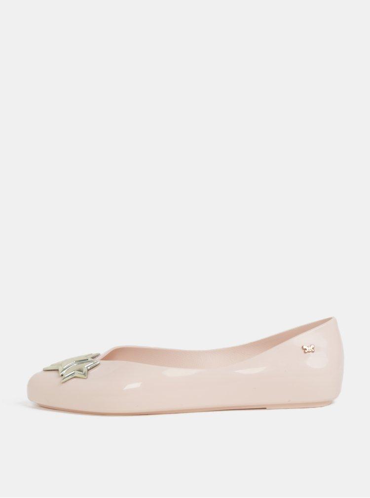 Světle růžové lesklé baleríny s detaily ve zlaté barvě Zaxy Chic