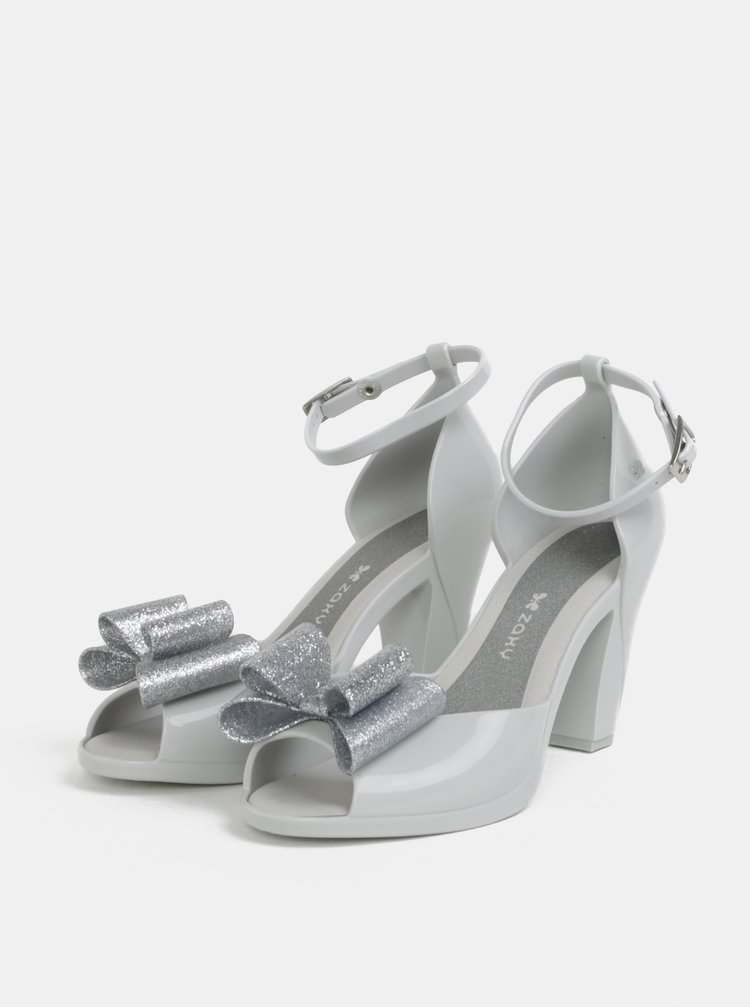 Sandale gri lucioase cu funda cu efect glitter Zaxy Diva Top