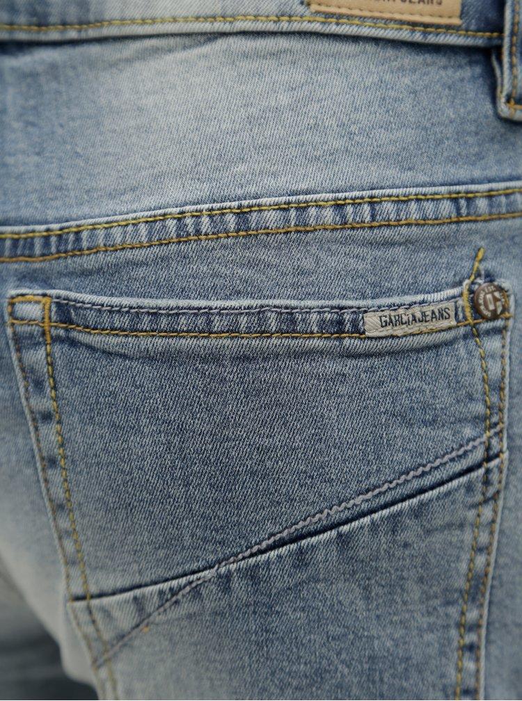 Modré dámské slim fit kraťasy s vyšisovaným efektem Garcia Jeans Rachelle