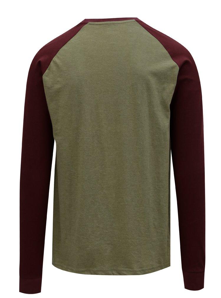 Vínovo-khaki pánské tričko s nášivkou NUGGET Complex