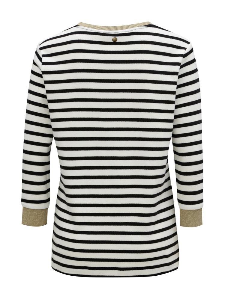Černo-bílý pruhovaný dámský svetr s 3/4 rukávem Garcia Jeans