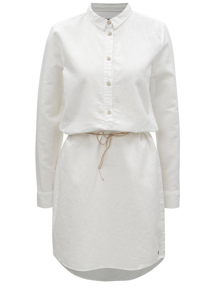 Bílé košilové lněné šaty s dlouhým rukávem Garcia Jeans