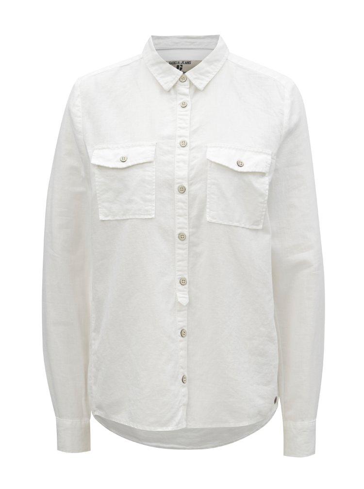 Biela dámska ľanová košeľa s vreckami Garcia Jeans