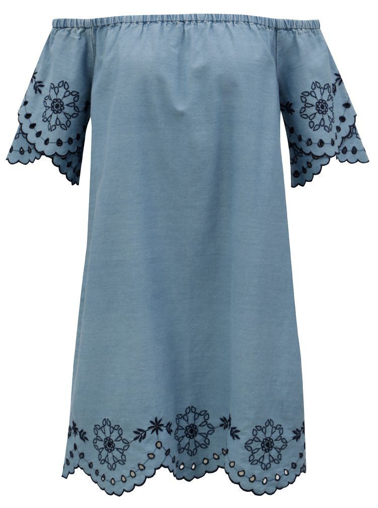 Rochie albastru deschis cu decolteu pe umeri si broderie Dorothy Perkins
