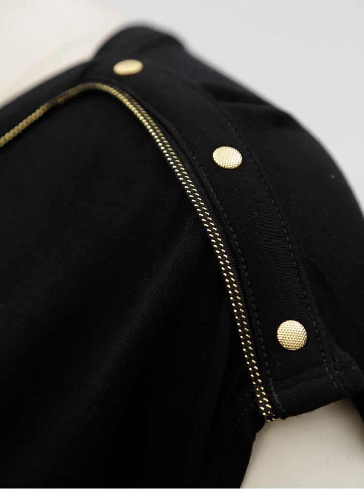 Černé dámské tričko s pruhem ve zlaté barvě Garcia Jeans