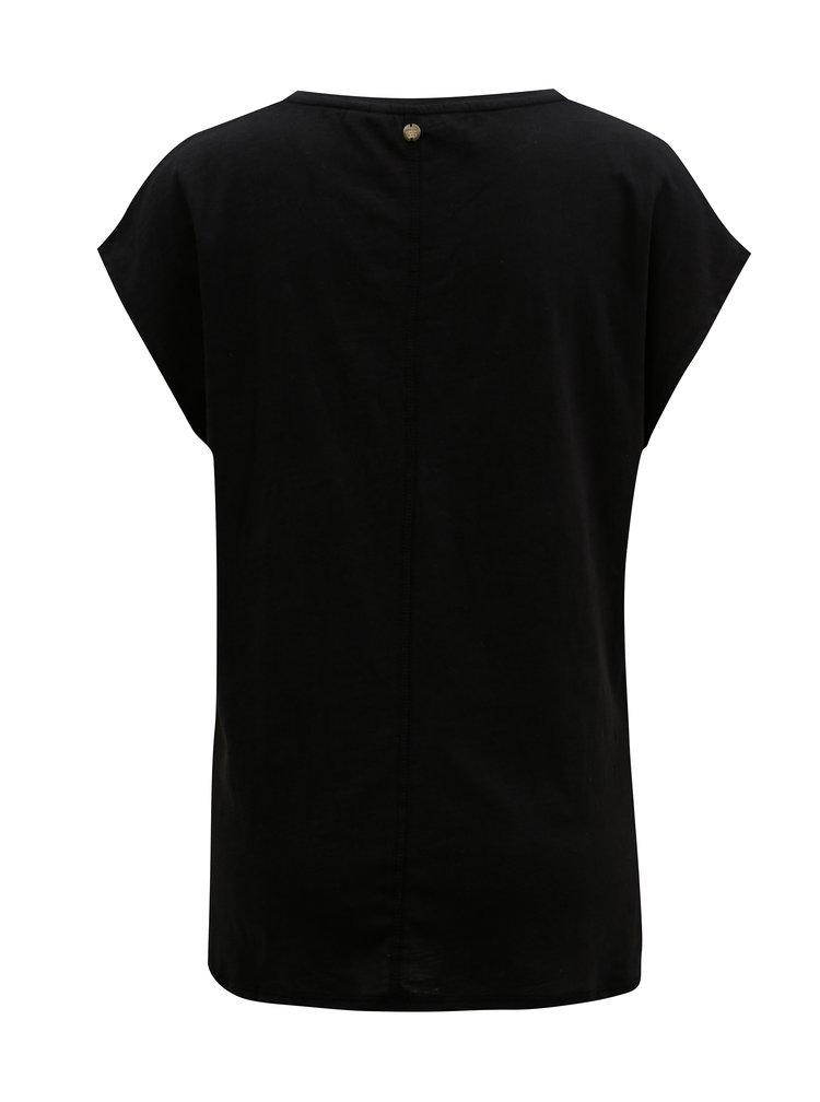 Černé dámské tričko s potiskem a flitry Garcia Jeans