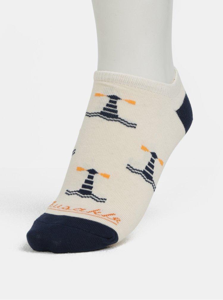 Krémové unisex kotníkové ponožky Fusakle Na more