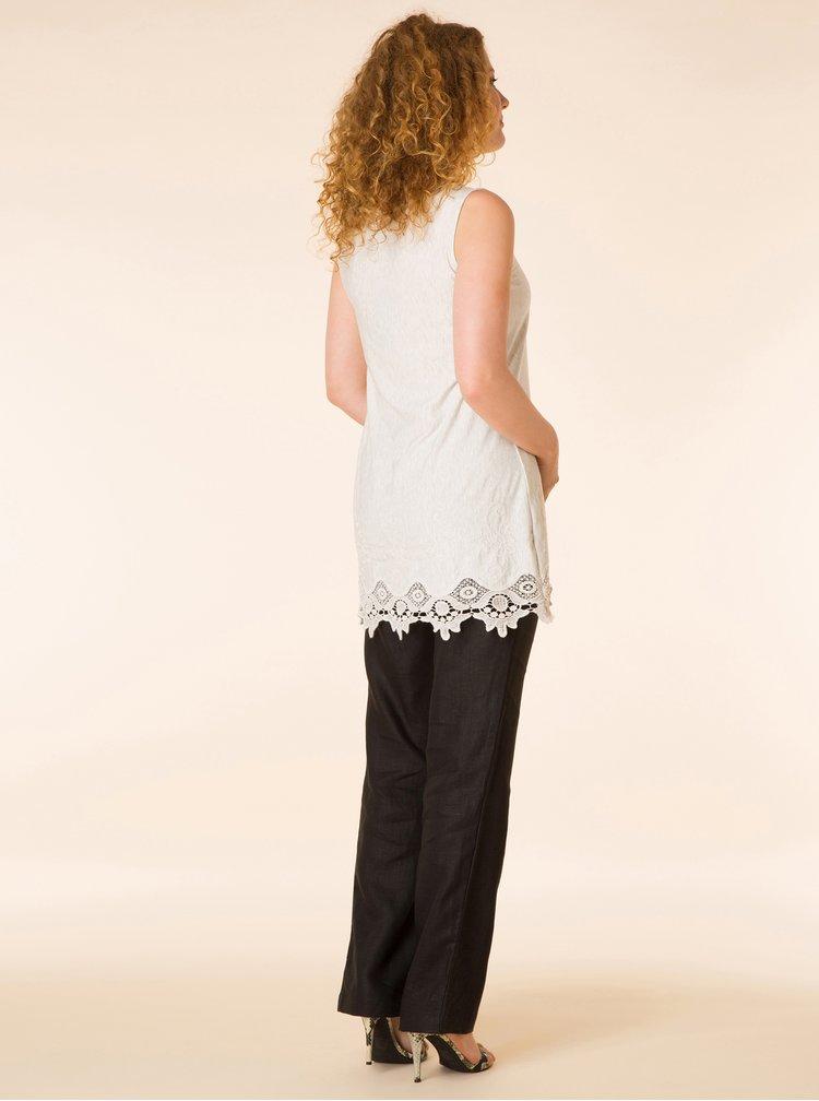 Krémový dlouhý volný žíhaný top s krajkou Yest