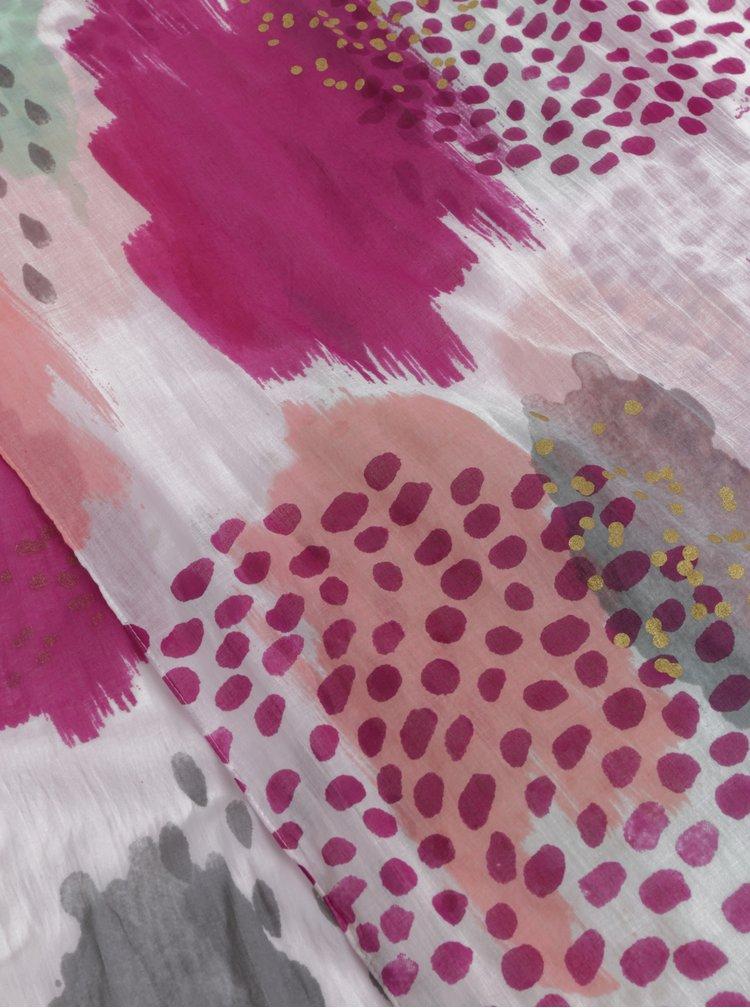 Bílo-růžový vzorovaný šátek Disaster Scarf