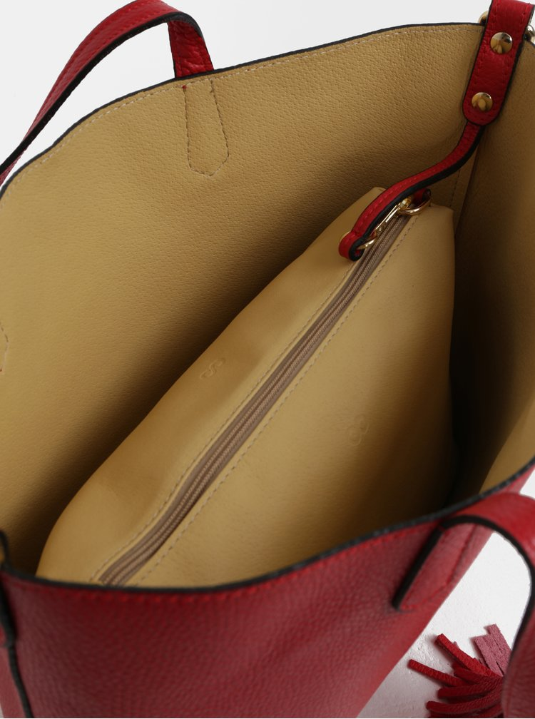 Červený kožený shopper s pouzdrem 2v1 ZOOT