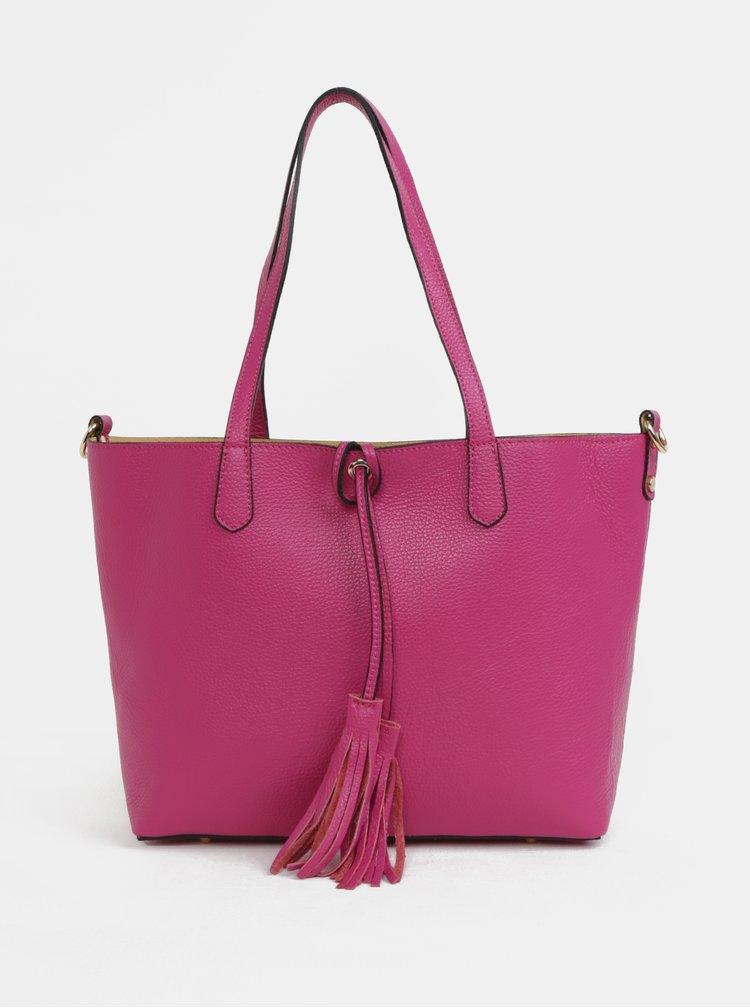 Růžový kožený shopper s pouzdrem 2v1 ZOOT