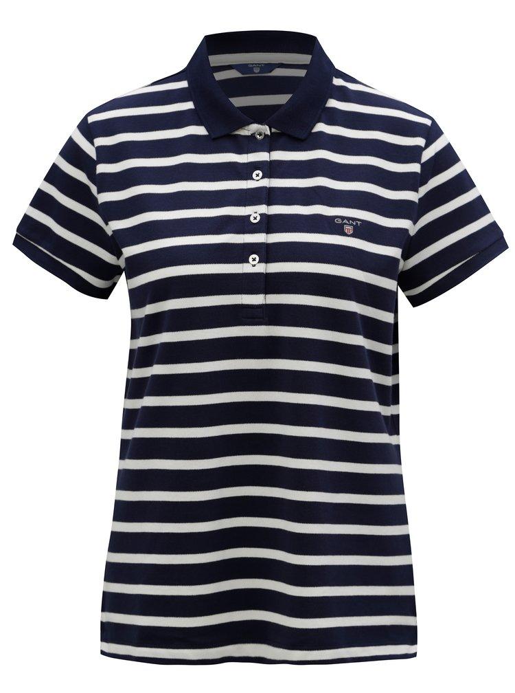 Bílo-modré dámské pruhované polo tričko GANT