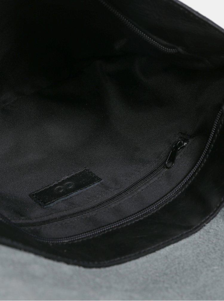 Čierno-ružová kožená crossbody kabelka s kožušinovou chlopňou ZOOT