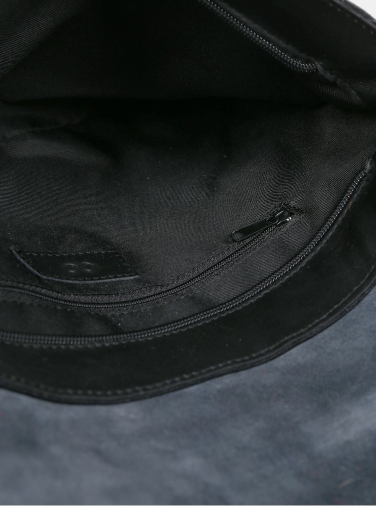 Geanta crossbody neagra din piele naturala si clapa din blana ZOOT