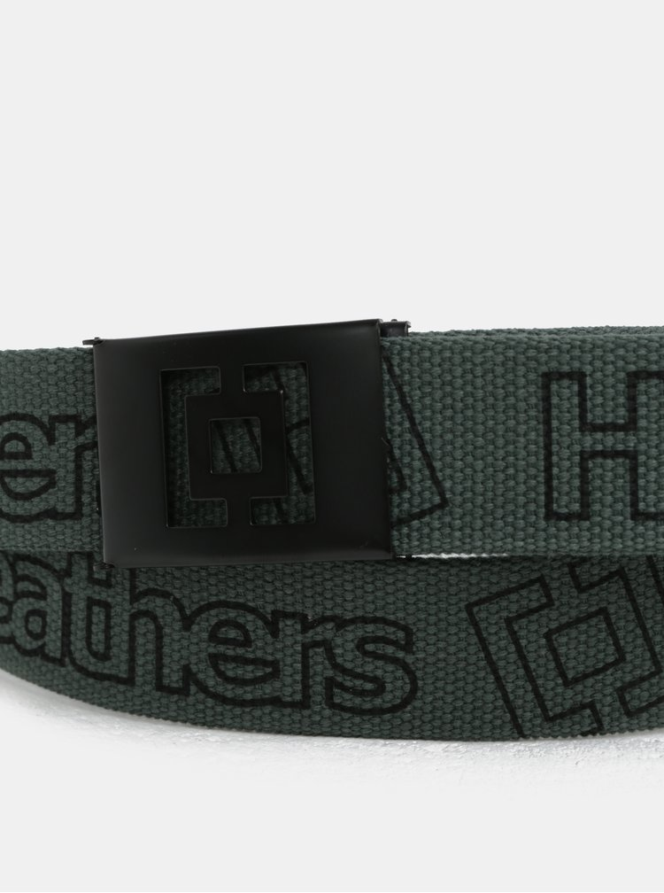 Šedo-zelený pánský pásek s potiskem Horsefeathers Idol