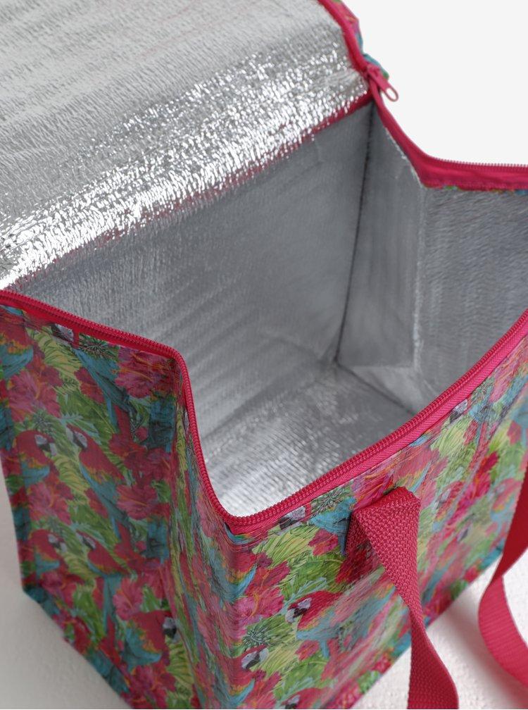 Růžová termotaška s motivem papoušků SIFCON