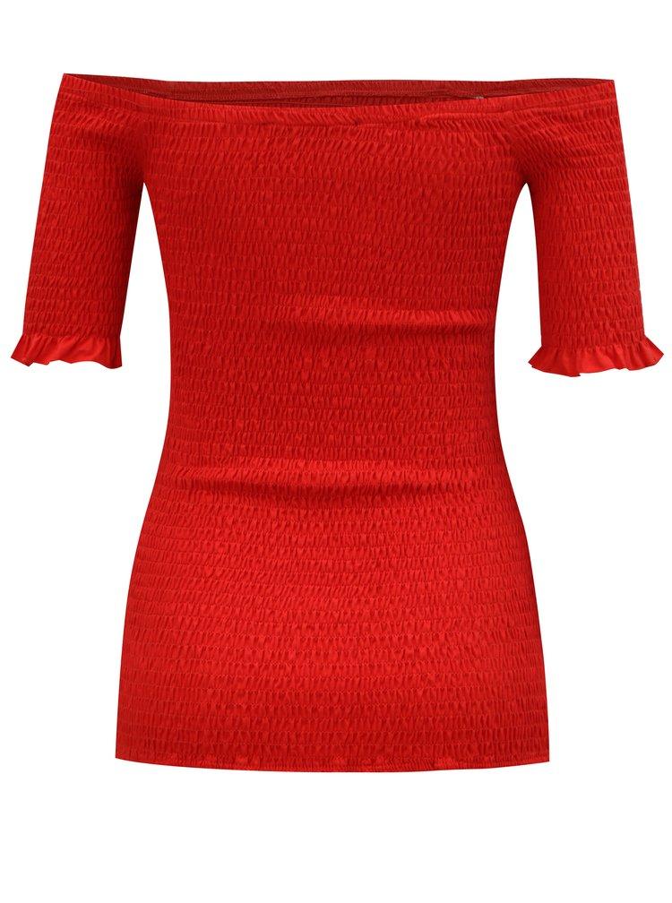 Červené tričko s odhalenými rameny Dorothy Perkins