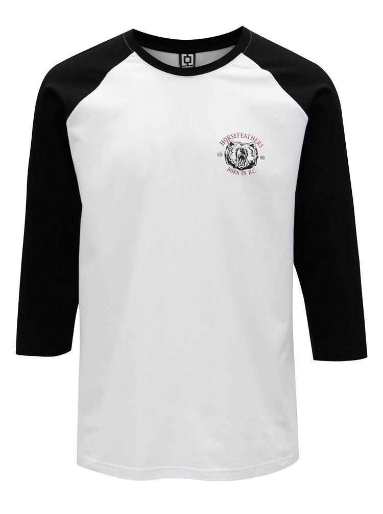 Černo-bílé pánské tričko s 3/4 rukávem Horsefeathers Bear