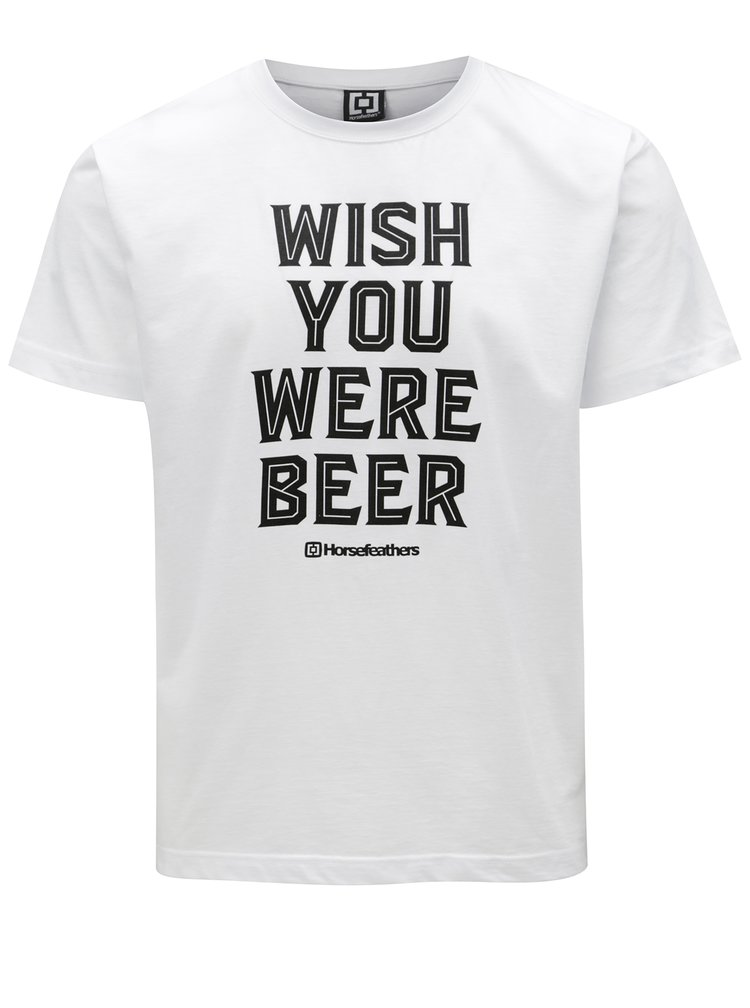 Bílé pánské tričko s potiskem Horsefeathers Prayer