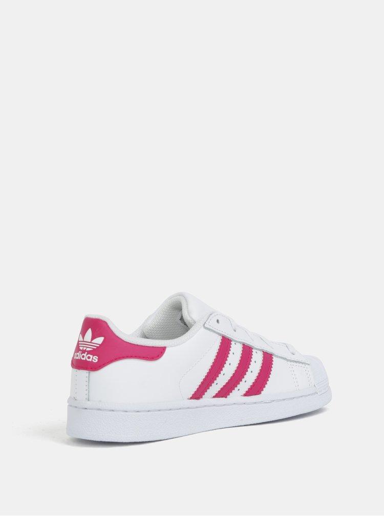 Bílé dětské kožené tenisky s růžovými pruhy adidas Originals SUPERSTAR C
