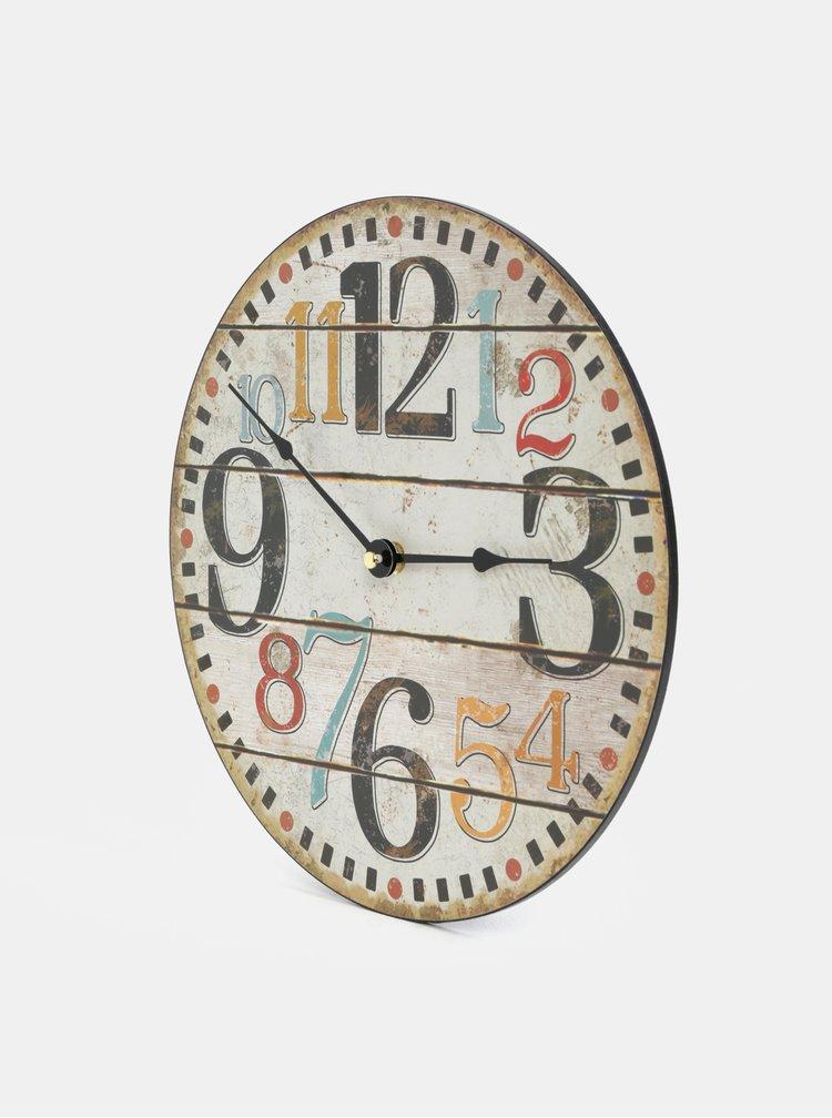 Hnědé dřevěné hodiny Dakls