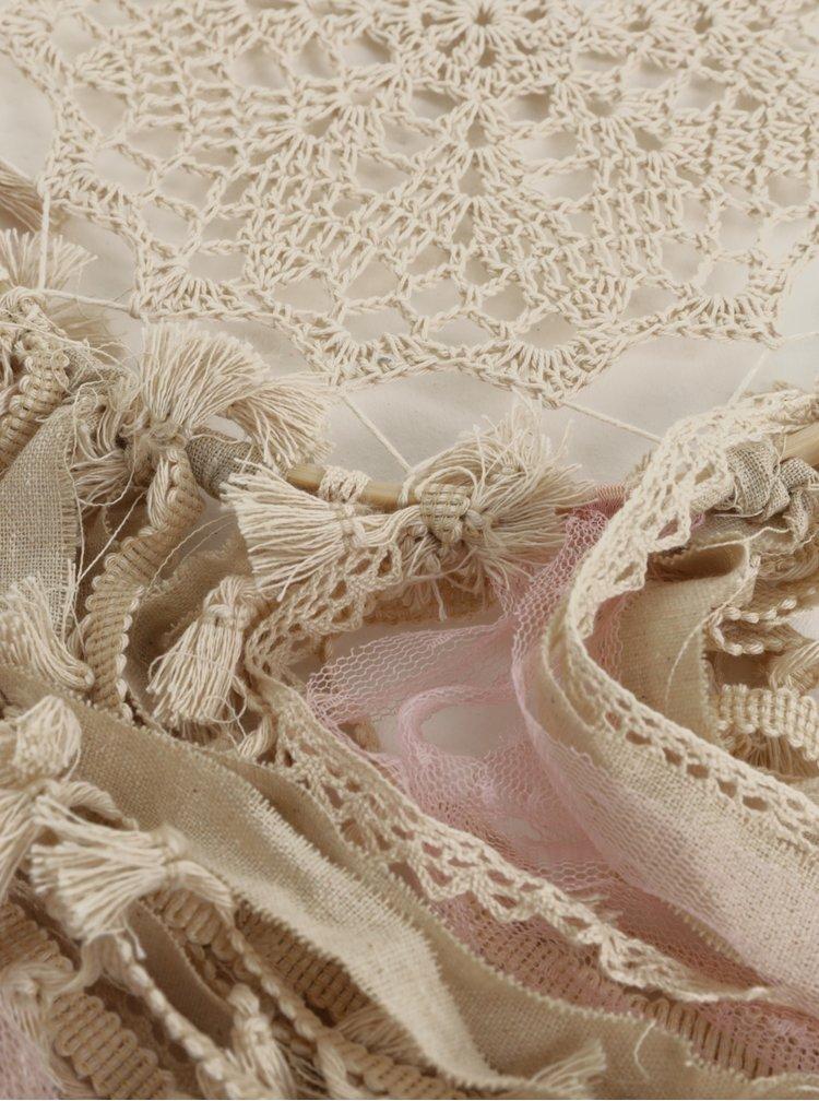 Béžový lapač snů s detaily v růžové barvě SIFCON