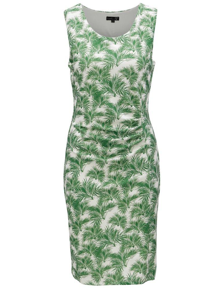 Krémovo-zelené pouzdrové vzorované šaty Smashed Lemon
