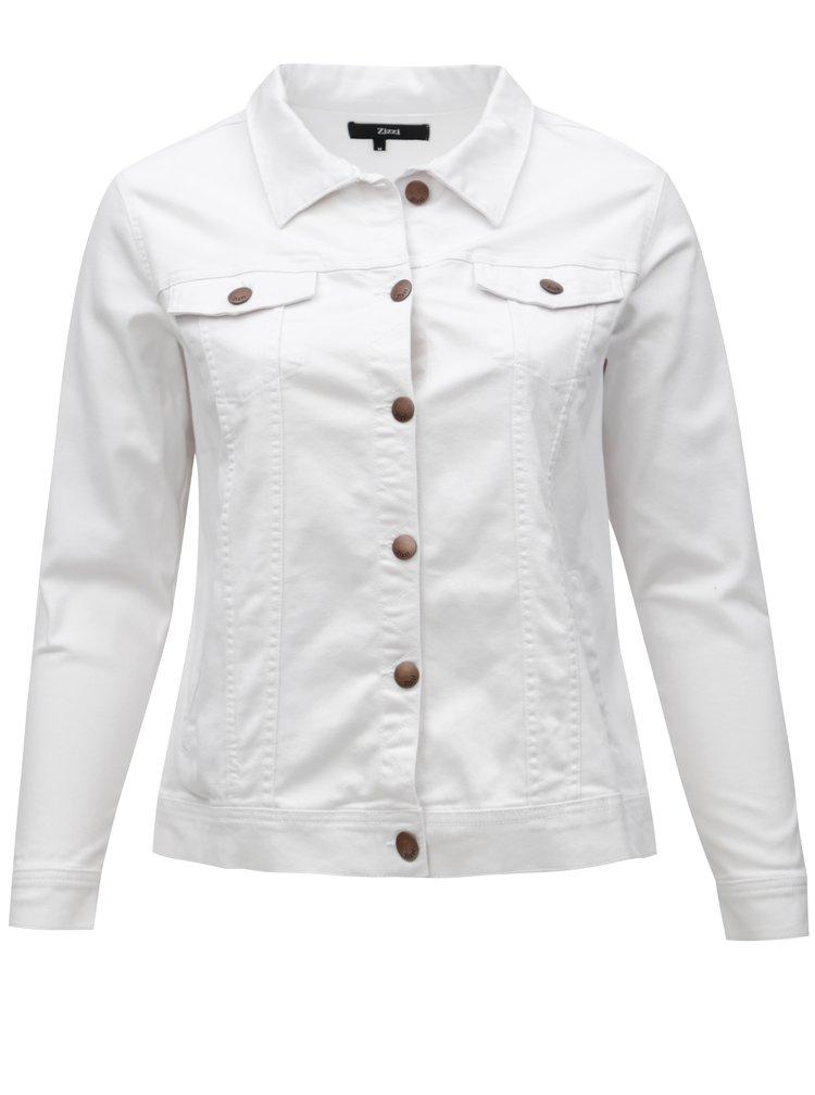 Jacheta de dama alba din denim Zizzi