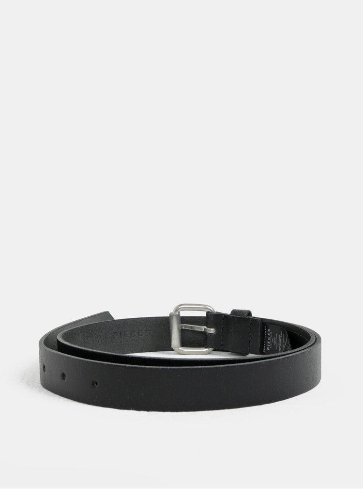 Černý kožený pásek Pieces Mary