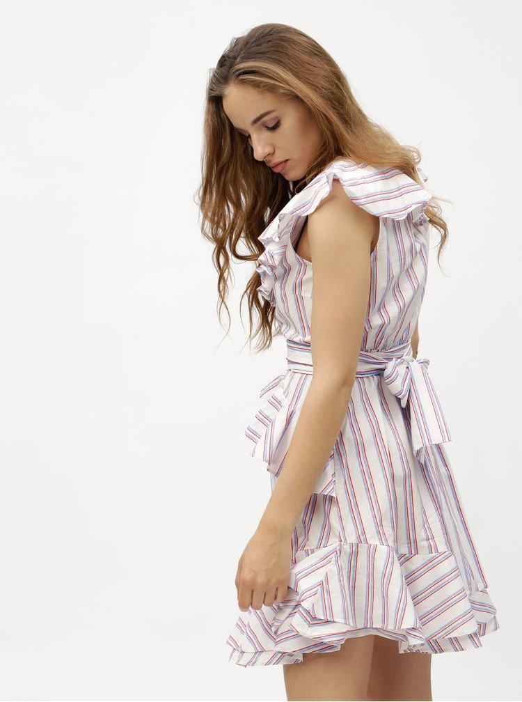 Bílé pruhované šaty s volány VERO MODA Gry