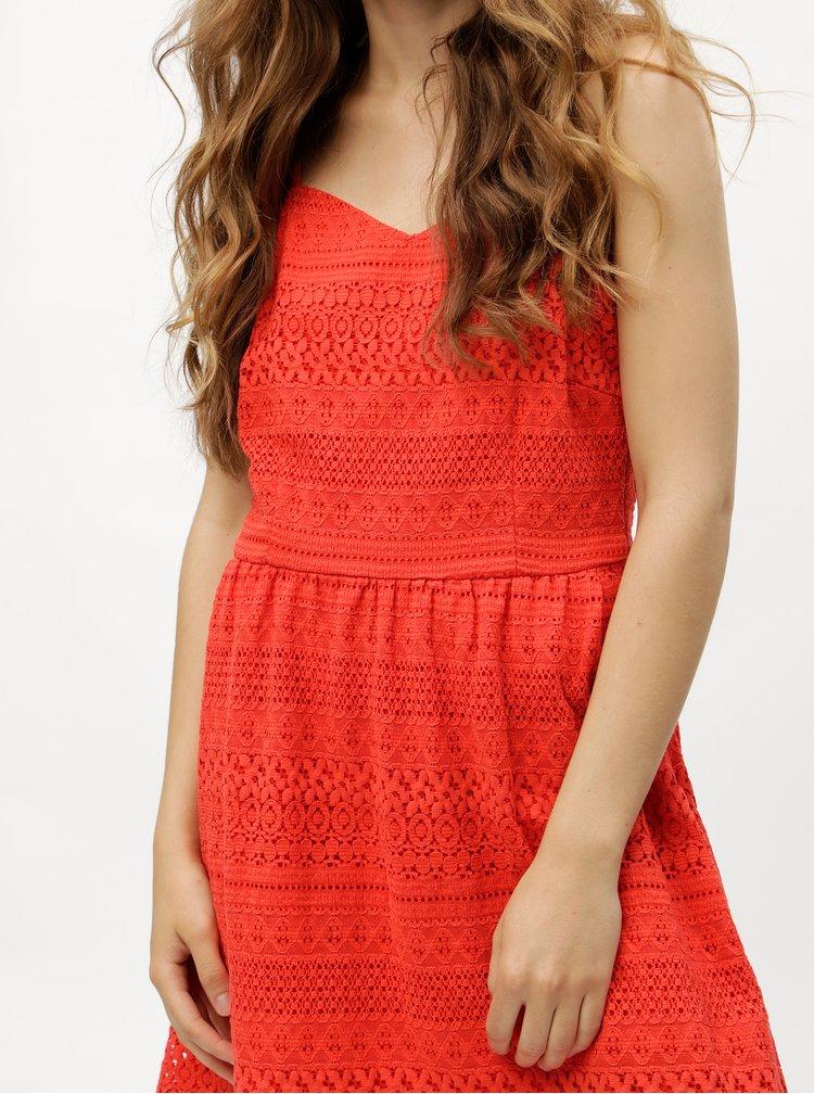 Červené krajkové šaty VERO MODA Honey