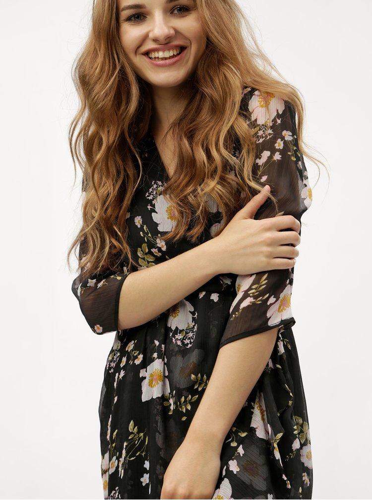 Černé květované šaty VERO MODA Kay