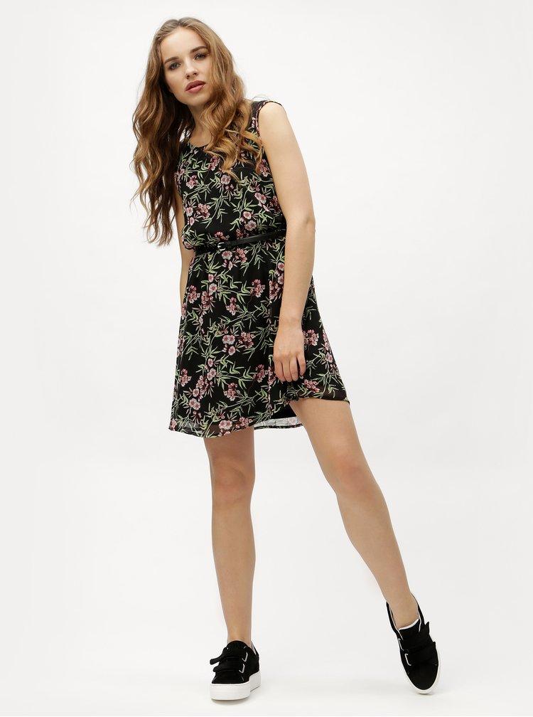 Rochie neagra cu model floral si cordon VERO MODA Kay