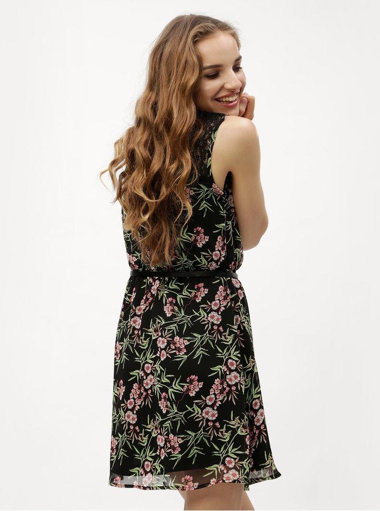 Černé květované šaty s páskem VERO MODA Kay