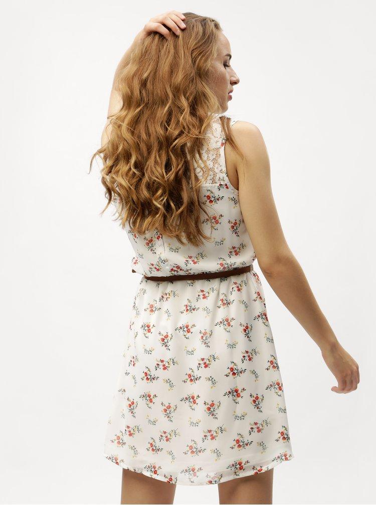 Bílé květované šaty s páskem VERO MODA Kay