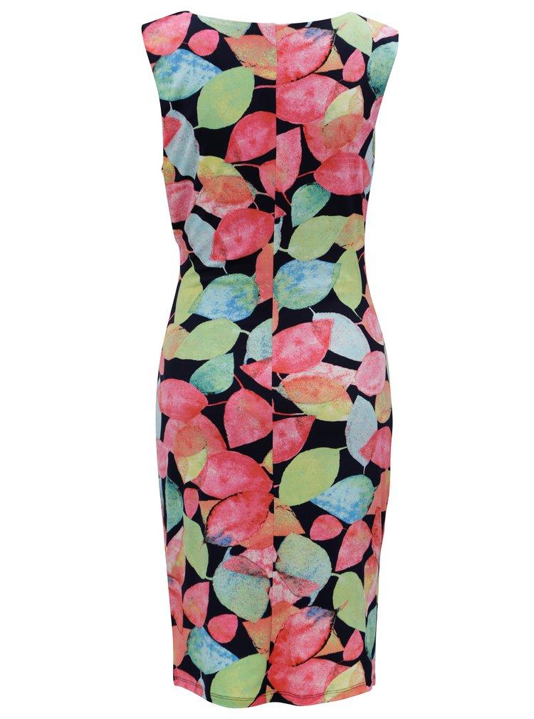 Modro-růžové vzorované šaty s překládaným výstřihem Smashed Lemon