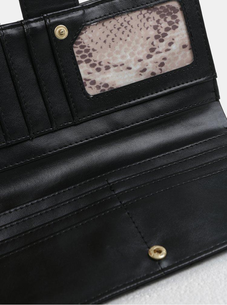 Černá velká peněženka s detaily ve zlaté barvě Gionni Trina
