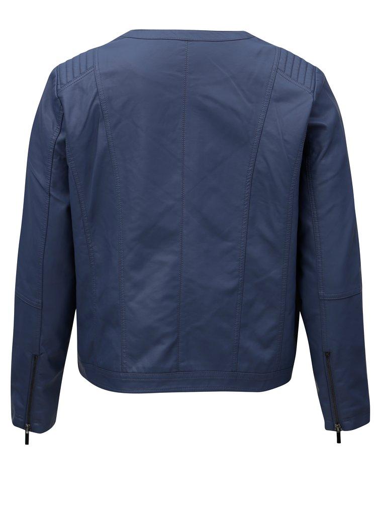 Modrá dámská koženková bunda Zizzi